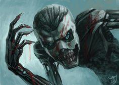 cyberpunk robot by ~WadyYeti on deviantART Cyberpunk, Smiling Man, Post Apocalypse, Shadowrun, Scion, Horror Art, Dark Fantasy, Storyboard, Predator