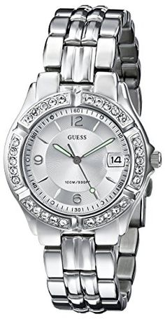 GUESS Women's G75511M Mid-Size Sporty Chic Silver-Tone Watch - http://dressfitme.com/guess-womens-g75511m-mid-size-sporty-chic-silver-tone-watch/