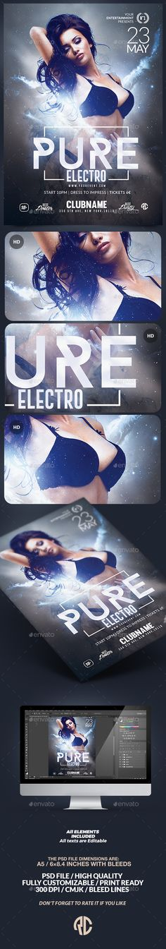 Pure Electro Flyer   Psd Template   Creative Flyer  Psd Available. #flyer #template #party  Thanks for The Watching !
