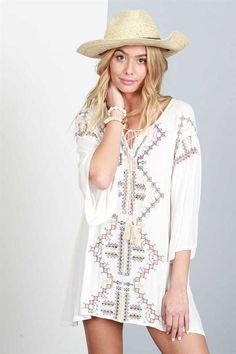 POL Clothing Tunic Top with Embroidered Details in Ivory