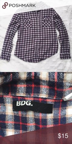 {BDG} Navy Flannel Women's size Large Urban Outfitters Tops Button Down Shirts