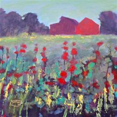 impressionism art,landscape art, acrylic painting, Barns On A Hill