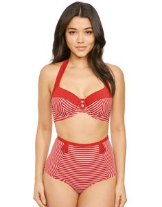 4b8767c578b4f Buy Panache Britt Stripe Halter Bikini Top at Figleaves Swimsuit Shops, Halter  Bikini, Bikini
