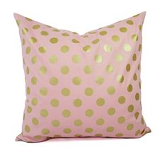Two Metallic Gold Pillow Covers  Pink and by CastawayCoveDecor