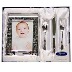 Fényképkeret és ezüst evőeszközök keresztelőre ~ Ez az ezüstözött fényképkeret és evőeszköz készlet egyedi ajándék keresztelőre kisfiúnak, kislánynak.