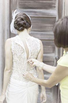A crinkle-chiffon gown with illusion vine beading from Tadashi Shoji