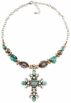 Beaded Faux Turquoise Stones & Rhinestones Cross Necklace - Sheplers