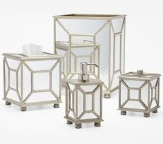 Arcadia Silver Mirrored Bath Accessories by Labrazel