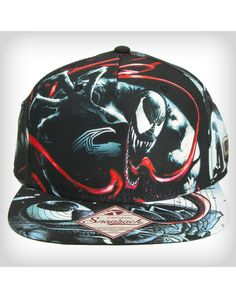 Venom Snapback Hat - Venom terrifyingly reaches out on this Black Sublimated Venom Snapback Hat. With tongue-rattling , flatbill design, this officially licensed snapback