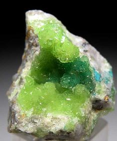 Cuprian Smithsonite from Tsumeb Mine, Namibia - just love the change from neon green to leaf green