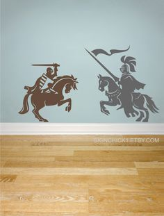 Knights wall decals Set of 2 knights on horses Medieval Inspired decor