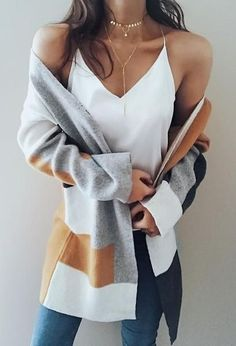 e7e024ac82ed3 Knit Multi color Long Sleeve Cardigan Sweater knits outfits for fall and  winter boyfriend style for women