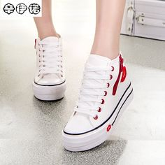 2017 Zapatos De Mujer New Real Canvas Shoes Fashion High Platform Denim For Women Breathable Thick Heel Red Lip Casual Trainers Casual Trainers, Shoes 2017, Thick Heels, Casual Shoes, Women's Casual, Platform Shoes, Red Lips, Womens Flats, Fashion Shoes