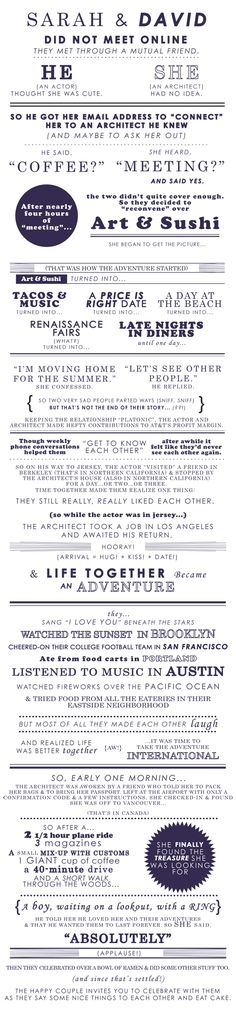 the loveliest and most creative love story wedding invite