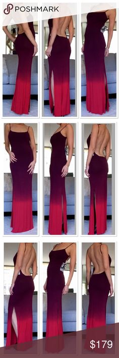 Young Fabulous and Broke Backless Faron Maxi Super soft and stretchy. Completely Backless. Side slits. Ombré. Young Fabulous & Broke Dresses Maxi