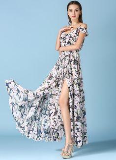 f77fadcddcb33a Polyester Floral Short Sleeve Maxi Vintage Dresses (1027425)   floryday.com  Chiffon Ruches