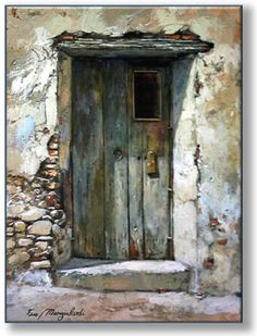 Watercolours of doors, windows .