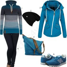 Türkis-Blaues Damenoutfit mit Pullover, Sneaker und Pullover (w0972) #türkis #naketano #sneaker #newbalance #outfit #style #fashion #womensfashion #womensstyle #womenswear #clothing #frauenmode #damenmode #handtasche #inspiration #frauenoutfit #damenoutfit