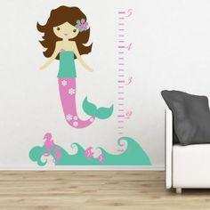 Mermaid Ocean Wall Decal Growth Chart - Children's Girl Bedroom Nursery Vinyl Wall Art Sticker - Ocean Waves, Fish, Seahorse - CC109