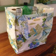 Upcycled Vintage Fabric Reversible Shopping Bag
