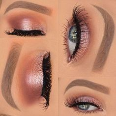 Pretty in pink, this girly look by @_beautybyalex features Makeup Geek Eyeshadows in:  Peach Smoothie (transition)  Cocoa Bear (crease)  Bitten (crease)  Grandstand (lid)  Starry Eyed (lid)  In The Spotlight (inner corner)