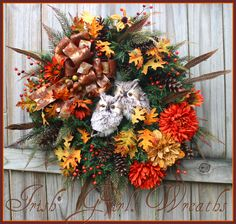 Rustic Autumn Owl Couple Fall Wreath, orange, gold, copper, brown, pheasant feathers, pine cones, rust by IrishGirlsWreaths on Etsy