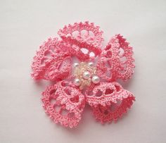 pink crochet brooch pink handmade crochet brooch by SuzieSue1972, £7.50