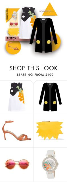"""""""Lemony Dots"""" by michelletheaflack ❤ liked on Polyvore featuring Victoria, Victoria Beckham, Iphoria, Manolo Blahnik, Christopher Kane, Wildfox, Versace, polyvorecontests, cutecardigan and springlayers"""
