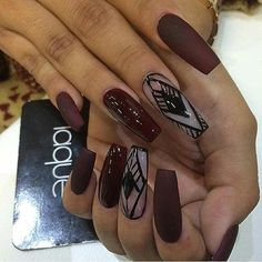 Burgundy Matte Coffin Nails with Black Details