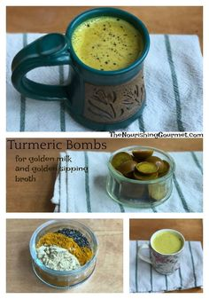 Super Easy Turmeric Bombs for Golden Milk and Golden Sipping Broth! It's a great way to enjoy anti-inflammatory spices. Kefir Recipes, Tea Recipes, Raw Food Recipes, Orzo Recipes, Turmeric Recipes, Garlic Cream Chicken, Chicken Orzo, Turmeric Bombs, Turmeric Tea Benefits