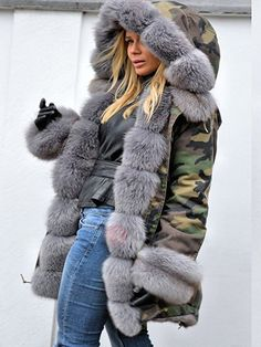 Tidebuy.com Offers High Quality Camouflage Winter Camouflage Hooded Fur Patchwork Women's Overcoat, We have more styles for Overcoats