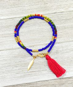Southwestern Multicolor Beaded Wrap Bracelet, Seed Bead Bracelet with Tassel, Colorful Friendship Bracelet with Gold Feather Charm, BFF Gift