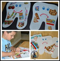 """Preschool dental education dental lessons Hygiene Lesson - Happy Tooth, Sad Tooth Collage: What makes our teeth """"happy"""" and """"sad""""? Health Activities, Classroom Activities, Preschool Activities, Health Lesson Plans, Health Lessons, Preschool Lessons, Preschool Crafts, Kids Crafts, Hygiene Lessons"""