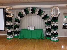 50th Emerald Green, Silver and Black Balloon Arch and Columns by Extra POP by Yolanda