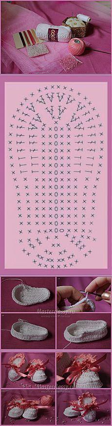 Booties Crochet Child Booties We knit booties with our personal arms. Crochet Child Booties We knit booties with our personal arms. Step-by-step grasp class Crochet Baby Booties Crochet Chart, Love Crochet, Crochet For Kids, Diy Crochet, Baby Knitting Patterns, Baby Patterns, Crochet Patterns, Knitted Booties, Crochet Baby Booties