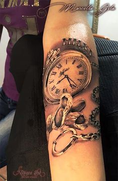 Pocket Watch Tattoo On Left Forearm By Marcello Gila