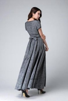 <img> Gray maxi dress empire waist dress Garden party dress by xiaolizi - Elegant Dresses For Women, Trendy Dresses, Fashion Dresses, Maxi Bridesmaid Dresses, Prom Dresses, Linen Dresses, Dress Making, Lace Dress, Dress Long