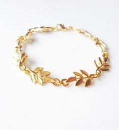Aphrodite - Gold Leaf Bracelet - Grecian Greek Cute Adorable Minimal Minimalist Fashion Modern Elegant Romantic Whimsical Dreamy Autumn Fall. $40.00, via Etsy.