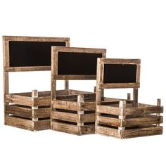 Natural Wood Storage Crate Set with Chalkboards