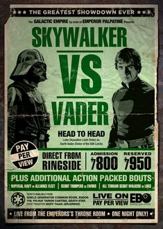Star Wars s'invite dans les classique du cinéma en poster » Star-Wars-Luke Skywalker Dark Vador boxe poster