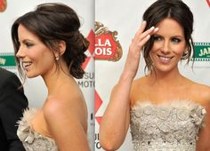 maybe texture & side part of other Kate Beckinsale, but lower chignon like this?