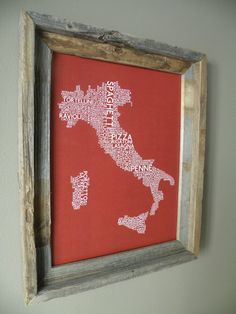 Italian Food Map. Would love this in black and white for my kitchen! My next DIY project. ~ M.M