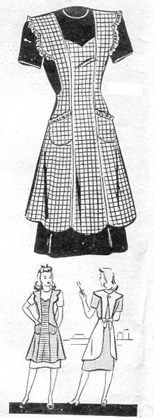 Commercial Pattern Archive: vintage sewing: Marian Martin 9037 c.1942 misses apron. Click on broken link for Pattern Pieces