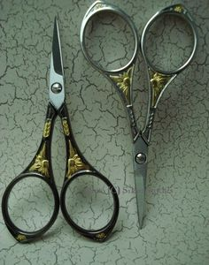 Italian made black and gold embroidery scissors