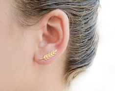 Gold Leaves Ear Pin, Yellow Gold Matte, Leaves Ear Sweep, Minimalist Ear Cuff, Nature, Modern Jewelry, Hand made, Christmas Gift, EC009N