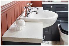 The space-saving monet round semi-recessed cloakroom basin #Roseberry #paintedtimber  #cloakroom #myutopia