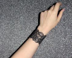 Black lace bracelet  Rose lace bracelet in red by LaurasPills