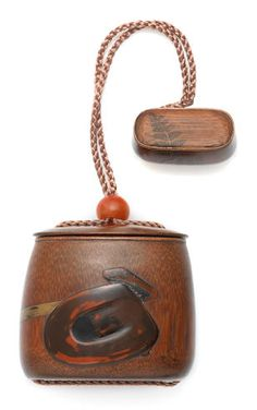 A tabako-ire (tobacco box) and netsuke with design of writing implements By Shibata Zeshin circa Bond Street, Japanese Art, Tea Caddy, Writing, Boxes, Antique, Design, Search, Craft