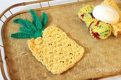 Crochet Pineapple Washcloth and Applique - Persia Lou
