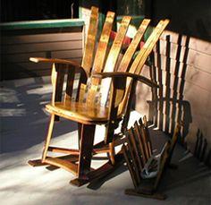 High back Wine barrel rocking chair.